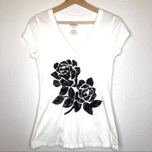 Express Floral Sequin Sparkly Graphic Tshirt